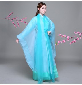 Chinese Ancient Costume Hanfu Dress drama cosplay blue fairy dress Women Folk Dance Qing Dynasty Tradition Wear Costumes
